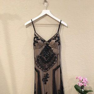 Sue Wong lace appliqué black/beige formal dress 6